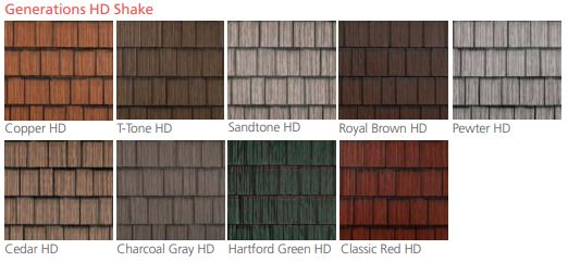 Generations HD Shake roofing color options from EDCO Steel Roofing