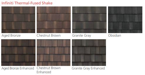 Infiniti Thermal-Fused Shake roofing material colors from EDCO Steel Roofing